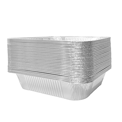 JXXH 9×13 Inches 30 Pack Disposable Aluminum Pans,Half-Size Deep Aluminum Pans For Grilling,Baking,Heating,Cooking,Food Preparation.
