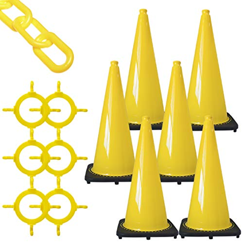 Mr. Chain Traffic Cone and Chain Kit, Yellow, 28-Inch Height (93202-6)