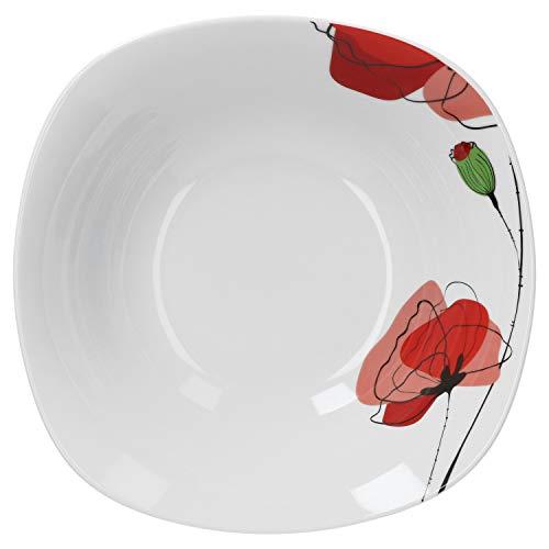 Van Well Servierschale Monika 1.25L   quadratische Buffet-Schale   XL-Servierteller für Salat & Dessert   abstraktes Porzellan-Geschirr   Gastro
