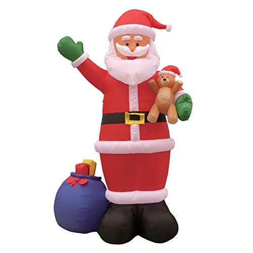 12 Foot Christmas Inflatable Santa Claus with Gift Bag and Bear Yard Garden Decoration Lights Decor Outdoor Indoor Holiday Decorations, Blow up Lighted Yard Decor, Lawn Inflatables Home Family Outside