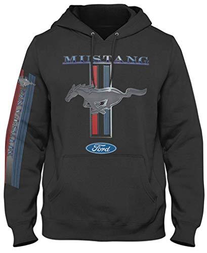 Ford Mustang, Ufficiale, Felpa con Cappuccio, Barra Tricolore sul Petto e sulla Manica - L - Nero