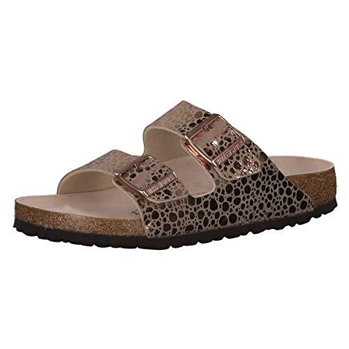 Birkenstock Arizona BF Metallic Stones Sandale mit orig. Kork-Latex Fußbett, Birko-Flor® Obermaterial aus einem Mix aus shiny und matten Materialien, Fleece-Lining, Gold (Copper), EU 37S,