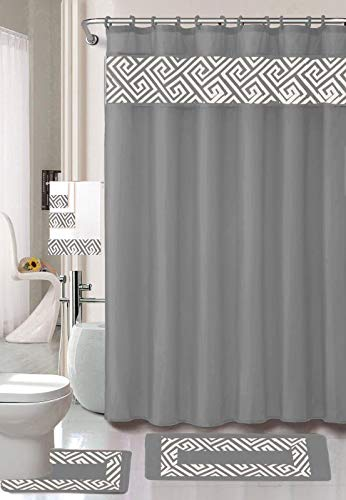 Luxury Home Collection 18 Piece Embroidery Non-Slip Bathroom Rug Set Set Includes Bath Rug Mat, Contour Mat, Shower Curtain, Towels, and Hooks (Grey)