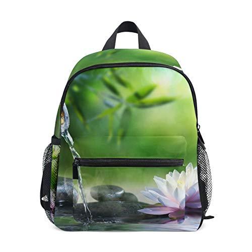 Mochila para niños y niñas Mini Mochila Bolsa de Viaje con Clip en el Pecho Piedras de Flor de Loto de jardín