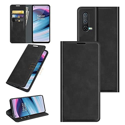 Fertuo Hülle für Oneplus Nord CE 5G, Handyhülle Leder Flip Hülle Tasche mit Kartenfach, Magnetverschluss, Silikon Innenschale Schutzhülle Cover Lederhülle für Oneplus Nord CE 5G Smartphone, Schwarz