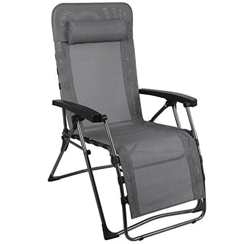 Westfield Outdoor Chaise longue inclinable sans gravité avec coussin amovible, hydrofuge, résistant aux UV – Cadre léger pouvant supporter jusqu'à 140 kg Pliable zéro gravité. Taille unique Anthracite