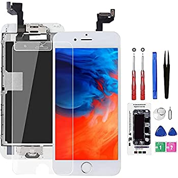 Screen Replacement for iPhone 6S White with Home Button and Camera Bsz4uov 3D Touch Screen Digitizer Replacement for A1633 A1688 A1700,with Proximity Sensor Ear Speaker,Tempered Glass Repair Tools