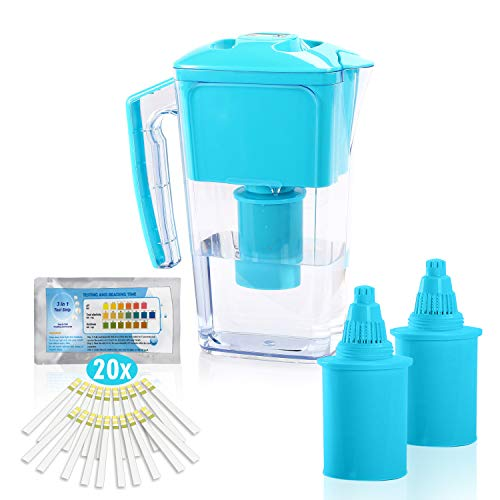 All Prime 2.5 Liter Alkaline Water Filter Pitcher with 2 Replacement Alkaline Water Filter, pH and Alkalinity Test Strips - Alkaline Water Filter Pitchers for Drinking Water