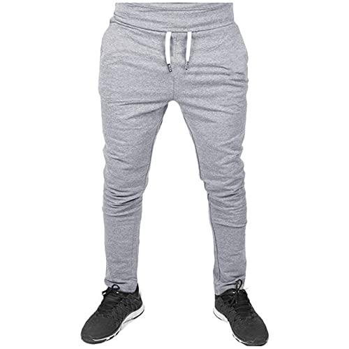 WXZZ Pantalones de deporte para hombre, mezcla de algodón, informales, cómodos, para verano, otoño, de un solo color, ajustados gris XL