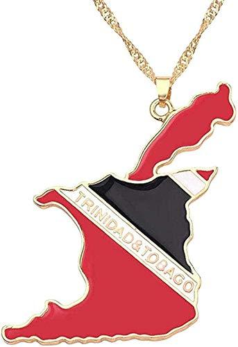 BACKZY MXJP Collar Collar Trinidad Y Tobago Mapa Rojo Bandera Nacional Collar Colgante Cadena De Encanto del País para Hombres Mujeres Accesorios De Cuello De Moda