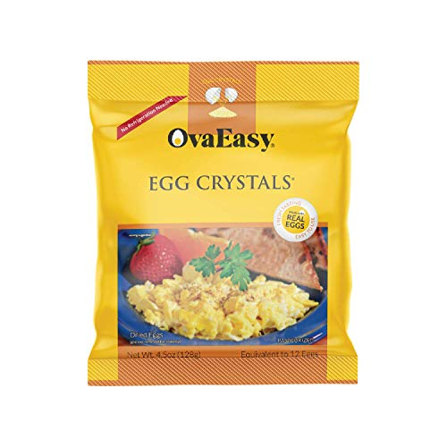 OvaEasy Dehydrated Egg Crystals – 4.5oz. (128g) Bag – Powdered Eggs Made From All-Natural Ingredients – Easy-To-Prepare Egg Powder – Dehydrated Food Perfect for Camping & Backpacking