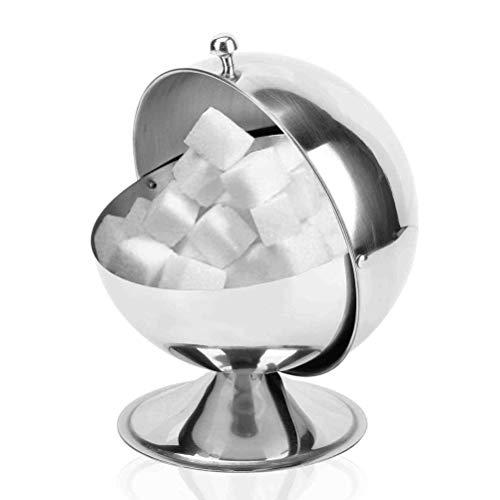 Zuckerdose Zuckerkugel mit Rolldeckel und Boden,für Pfeffer Gewürz,Drehbar Edelstahl Zuckergefäß mit Deckel für Küche und Heimat