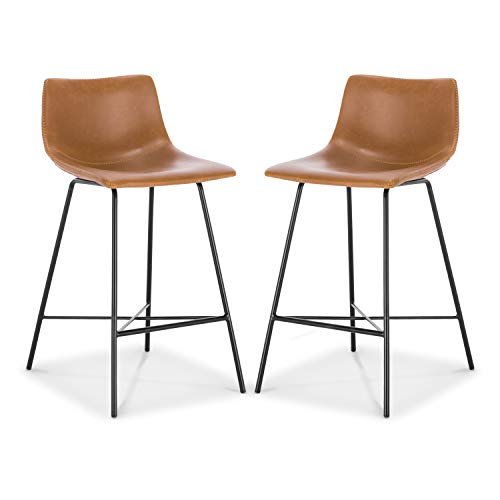 """Poly and Bark Paxton 24"""" Counter Stool in Tan (Set of 2)"""