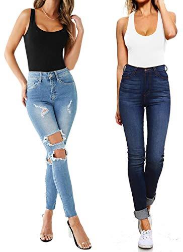 Women's Sleeveless T Shirt Backless Tank Tops Bodysuit (Black, Small)