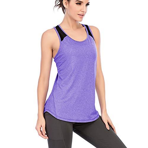 MeetHoo Sportiva Canotta Donna,Tank Top Senza Maniche Maglie Canottiera per Yoga Running Fitness