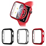 CAVN Lot de 3 protections d'écran avec coque en verre trempé compatible avec Apple Watch Series SE/6/5/4 44 mm, coque de protection rigide en polycarbonate avec coque en verre, accessoire HD transparent (noir/argent/rouge, 44 mm)