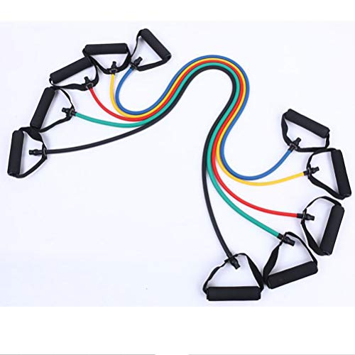 NOBRAND 5 Pcs/Set 120CM Fitness Equipments TPE One-word Puller Pull Elastic Rope Resistance Band Abdominal Fitness Device,Yellow+Green+Red+Blue+Black