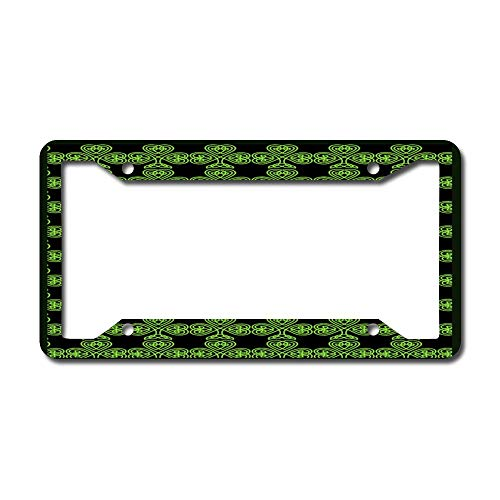 License Plate Frame, Irish Celtic Shamrock Pattern Green Car Licenses Plate Covers Holders Frames for Plates Universal American Auto