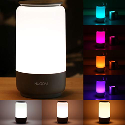 LED Table Lamp, HUGOAI Bedside Lamp, Nightstand Lamps for Bedrooms with Dimmable Whites, Vibrant RGB Colors and Memory Function, No Flicker - Grey