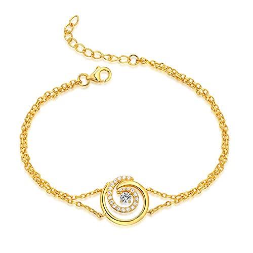925 Sterling Silber YCHZX Persönlichkeit Geburtsstein Armband Damen Liebesarmband Liebhaber Mutter Geschenk Gold