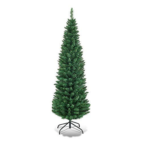 Goplus 6FT Pencil Christmas Tree, Artificial Slim Christmas Tree, 400 Branch Tips, Premium PVC Needles, with Sturdy Metal Stand, Unlit XmasTree for Home Office Shops Hotels