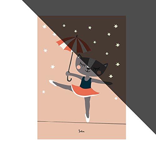 Julica Design Nachtleuchtende Bilder fürs Kinderzimmer | Poster | Wand-Bild für Baby-Zimmer | Ballerina Katze | 50 x 70 cm