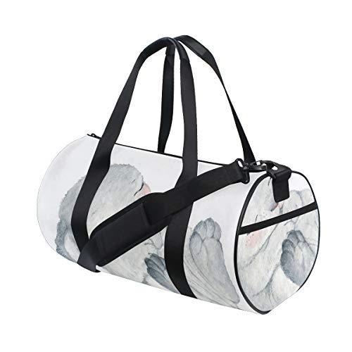 ZOMOY Sporttasche,Aquarell Skizze des Schlafens des einzelnen weißen gesunden schauenden Osterhasen,Neue Bedruckte Eimer Sporttasche Fitness Taschen Reisetasche Gepäck Leinwand Handtasche