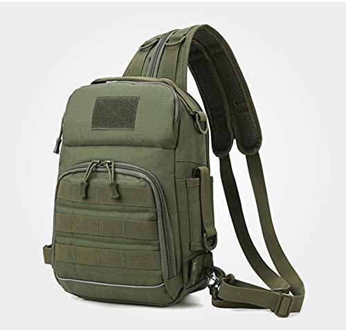 AMZYY Nueva bolsa de señuelo multifuncional al aire libre bolsa de pecho camuflaje táctico hombro diagonal caña de pescar bolsa de la caja de pesca, verde