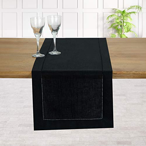 D'Moksha Homes 100% Pure Linen Hemstitch Table Runner - 14 x 90 Inch Amazing Black, Natural Fabric European Flax, Machine Washable, Handcrafted Dresser Scarf with Mitered Corners, Great Gift Choice