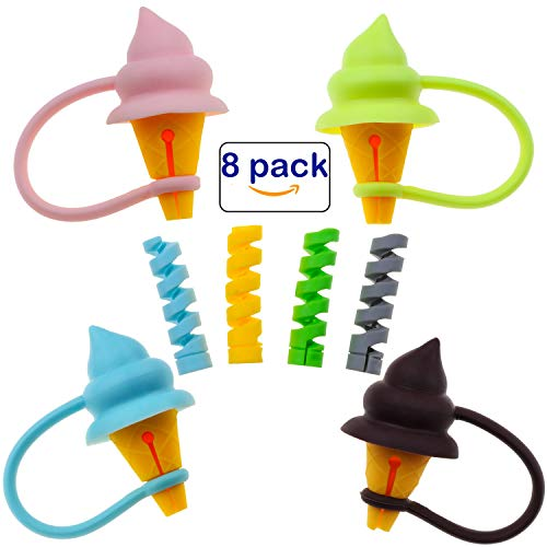 Animals Cable Bite, Charger Protector for Phone Cable Cord Accessory Ice Cream Shape - 4 Pcs + 1 Pack Twist Cover Wire Cable Protectors for All Cell Phones, Computers, and Tablets