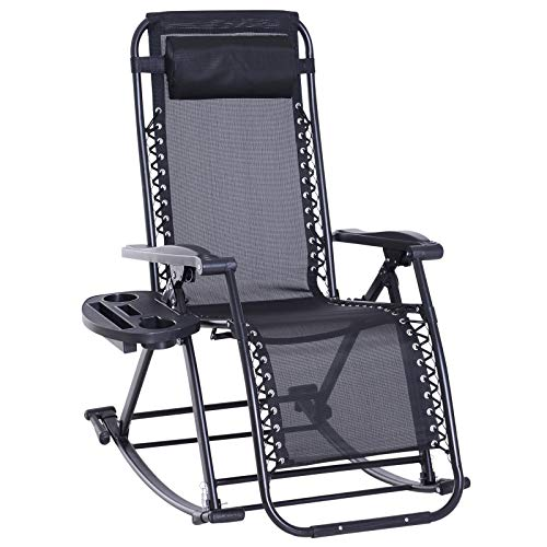 Outsunny Fauteuil à Bascule Rocking Chair Pliable Chaise Longue zéro gravité 2 en 1 Plateau Porte gobelet tétière Acier textilène Noir