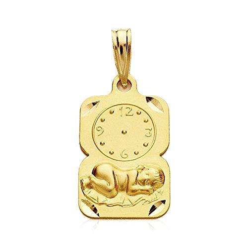 Médaille pendentif 9K Or rectangulaire enfant sous surveillance 19mm. Largeur bébé 11mm. - personnalisable - Enregistrement Inclus dans le prix