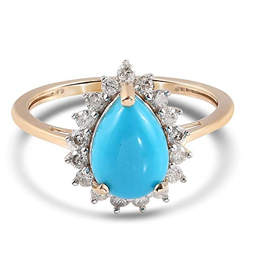 TJC Sleeping Beauty Turquoise Halo Ring for Womens in 9ct Yellow Gold Anniversary/Wedding/Proposal Gemstone Jewellery Size M with White Diamond Blue Coloured December Birthstone, TCW 255.8ct