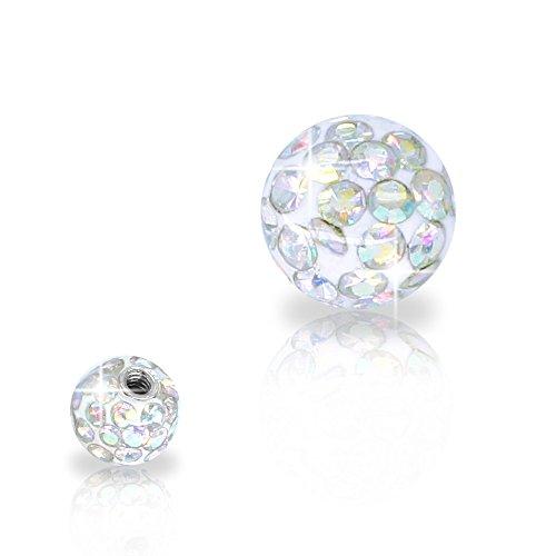 SoulCats® Piercing Kugel Schraub Ersatzkugel Kristall Gel Epoxy Ferido viele Größen, Farbe:Regenbogen, Gewinde:1.6 mm, Kugelgröße:6 mm