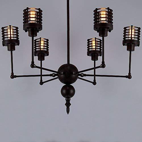 DEJ Industriële Hanglamp Swing Arm 6-Light s Afgewerkt Grote Kroonluchter, Zwart