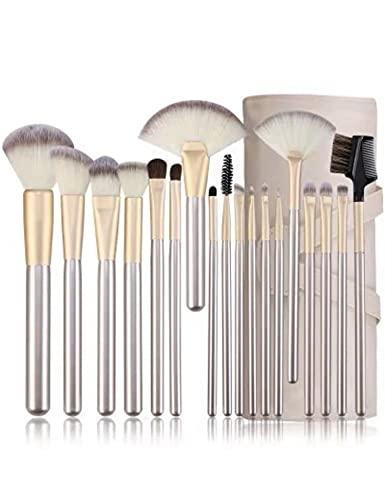 Pinselset Make up Pinsel Set 12/18 Stück Professionelle Kosmetik Werkzeuge Holzgriff Synthetische Haar pinsel mit und Roll Up Pu-Leder Tasche