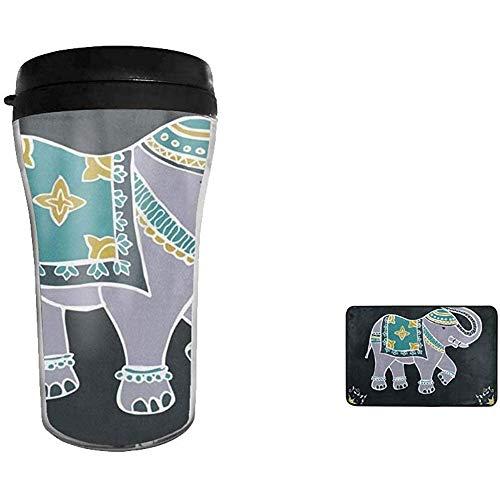 Caffè da 8 once isolato festivo in acciaio inossidabile a doppia parete con elefante