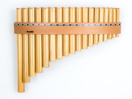 Panflöte aus Bambus mit 18 Töne-Rohre in C-Dur mit Holzriemen-Design, handgemacht, handmade von Plaschke Instruments aus Südtirol/Italien