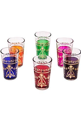 Orientalische verzierte Teegläser Set 6 Gläser Arab bunt Gold | Marokkanische Tee Gläser 6 Farben Deko orientalisch | 6 x Orientalisches Marokkanisches Teeglas verziert | Verschiedene Muster (Arab)