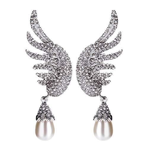 L.W.S Pendientes Pendientes de Diamantes Colgante de múltiples Capas Forma de ala Moda romántica Bohemio cumpleaños Estilo