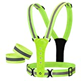 Aiyivve Reflective Vest High Visibility Vest Reflective Adjustable Led Reflective Vest with Wristbands Reflective Stripes Safety Vest with 8 LED Lights for Outdoor Running, Jogging, Cycling at Night