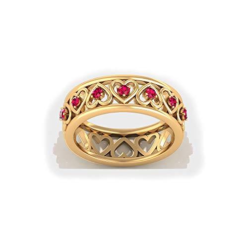 Anillo de eternidad de corazón de rubí, anillo de boda de banda ancha, anillo de piedras preciosas de julio, anillo de promesa para ella, 14K Oro amarillo, Size:EU 66