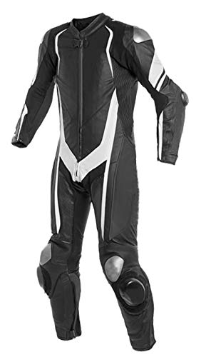 Motorcycle Black One Piece 366 Leather Racing Suit CE Approved Protection (M)