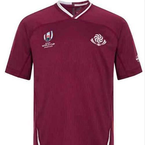 Team Georgia, Maillot De Rugby, Coupe du Monde, édition Maison, Nouveau Tissu Brodé, Swag Sportswear (Rouge, 3XL)