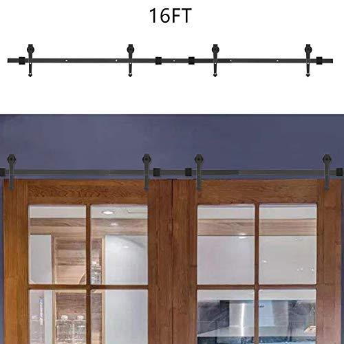 Kit de deslizamiento de puerta de granero, tipo de flecha de empalme de puerta doble Kit de riel de puerta corrediza para riel de puerta corrediza Kit de riel de riel de 16 pies