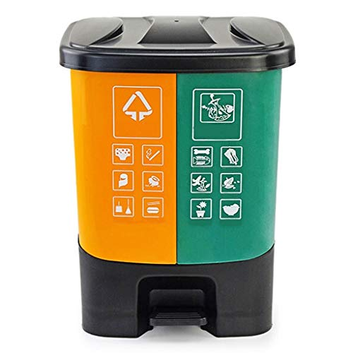 Zxb-shop Trash & Recycling Containers Pedal-Type Trash Can Home Kitchen Outdoor Office Sanitation Double Barrel Garbage Bin with Lid (20L/30L) Outdoor Waste Bins (Color : Orange+Green, Size : M)
