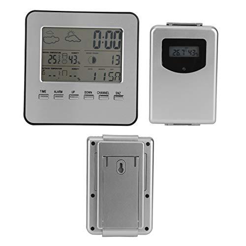 Boumcat Reloj Despertador con Clima Termómetro E Higrómetro Digital LCD Mini Termómetro Digital E Higrómetro Adecuado para Invernadero/ Coche/ Hogar/ Oficina