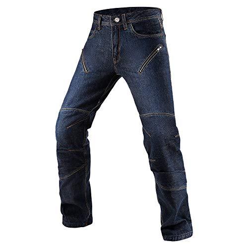 INBIKE Pantaloni Moto Uomo con Protezioni CE Pantaloni Jeans Denim Blu Resistente All'Abrasioni(Blu,XL)