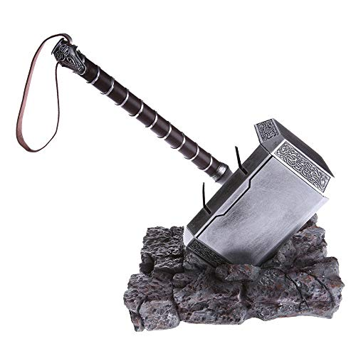 Mastergoswords Thor Mjolnir Hammer Collectible 1:1 Replica Cosplay Costume Prop Toy (Standing Base Included)