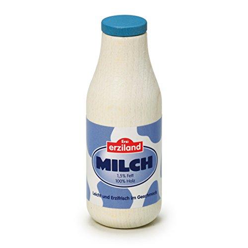 Erzi 17150 Milchflasche aus Holz, Kaufladenartikel für Kinder, Rollenspiele